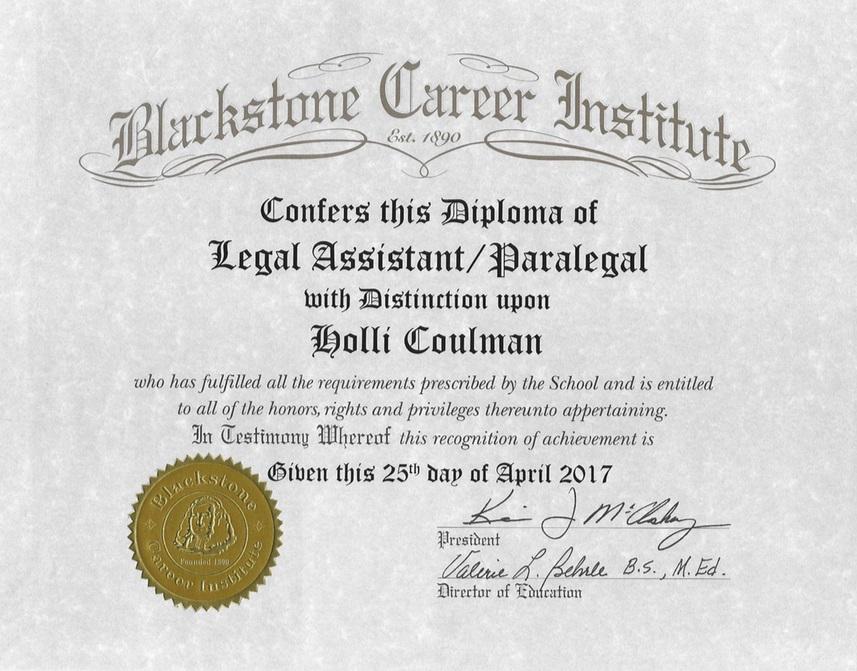 Holli Coulman Paralegal