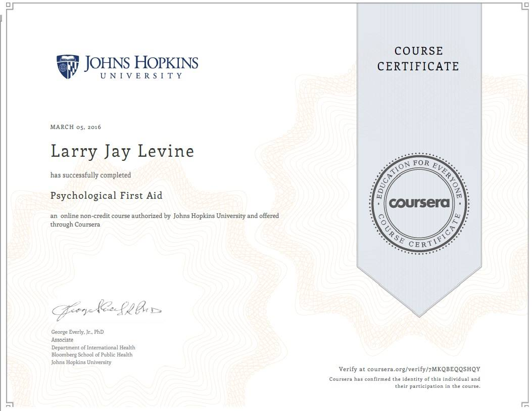 Larry Levine Psychological First Aid Certificate